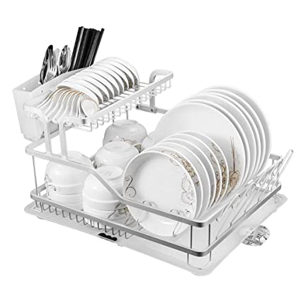 HY Espacio Aluminio bastidores de Cocina Estante para Platos Suministros de Cocina desagüe tazón Rack Armario