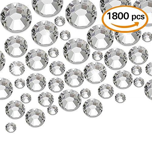 WXJ13 1800 Pieces Flatback Rhinestones Glass Round Brilliant , 5 Sizes (1.5 mm, 2.5 mm, 3 mm, 4 mm, 5 mm)