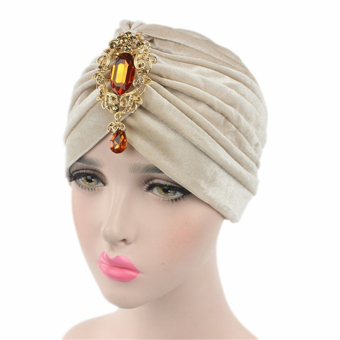 Qhome Gorgeous Soft Velvet Turban Velour Hair Cover Headwrap Hijab Hat with Gold Jewelry Pendant