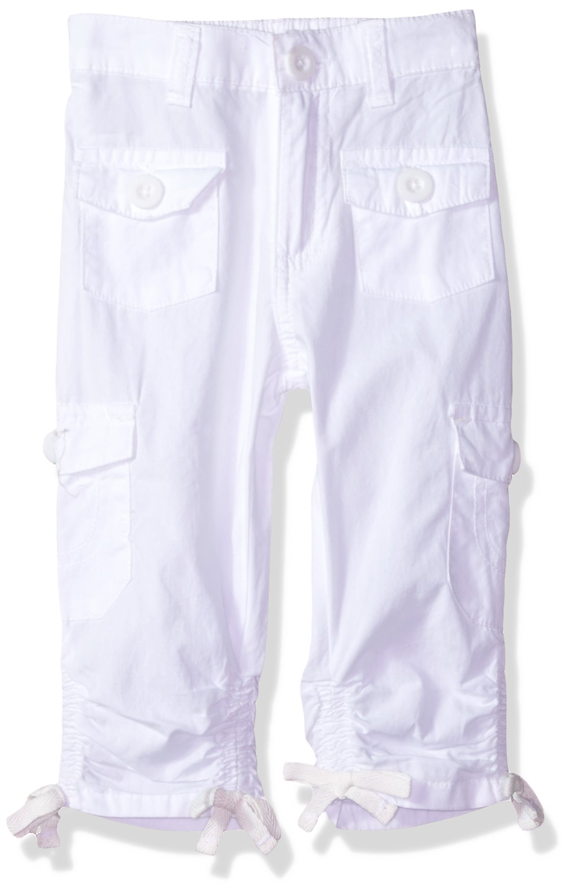 Limited Too Toddler Girls' Fleece Pant, Scrunchy Hem Poplin Cargo Capri White, 4T by Limited Too