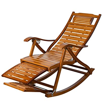 ZHIRONG Bamboo Chaise Lounges,Summer Adjustable Folding Chairs Armchair Old  Man Type S Casual Deck