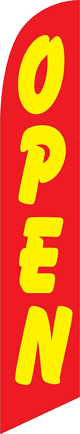12ft x 2.5ft Open (red/yellow) Replacement Feather Swooper Banner Flag - FLAG ONLY -