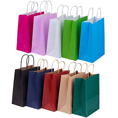 BENECREAT 30 Pack Bolsas de Regalo de Papel Kraft con Asas Compras, Mercancía,, Fiesta, Boda, Papel 100% Reciclado 10 Colores Mixtos