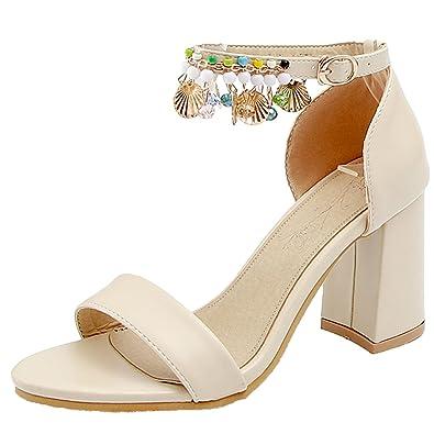 AIYOUMEI Damen Knöchelriemchen Sandalen Blockabsatz High Heels  Riemchensandalen mit Perlen Sandaletten Hochzeit Beige 32.5 EU af8ec3c45f