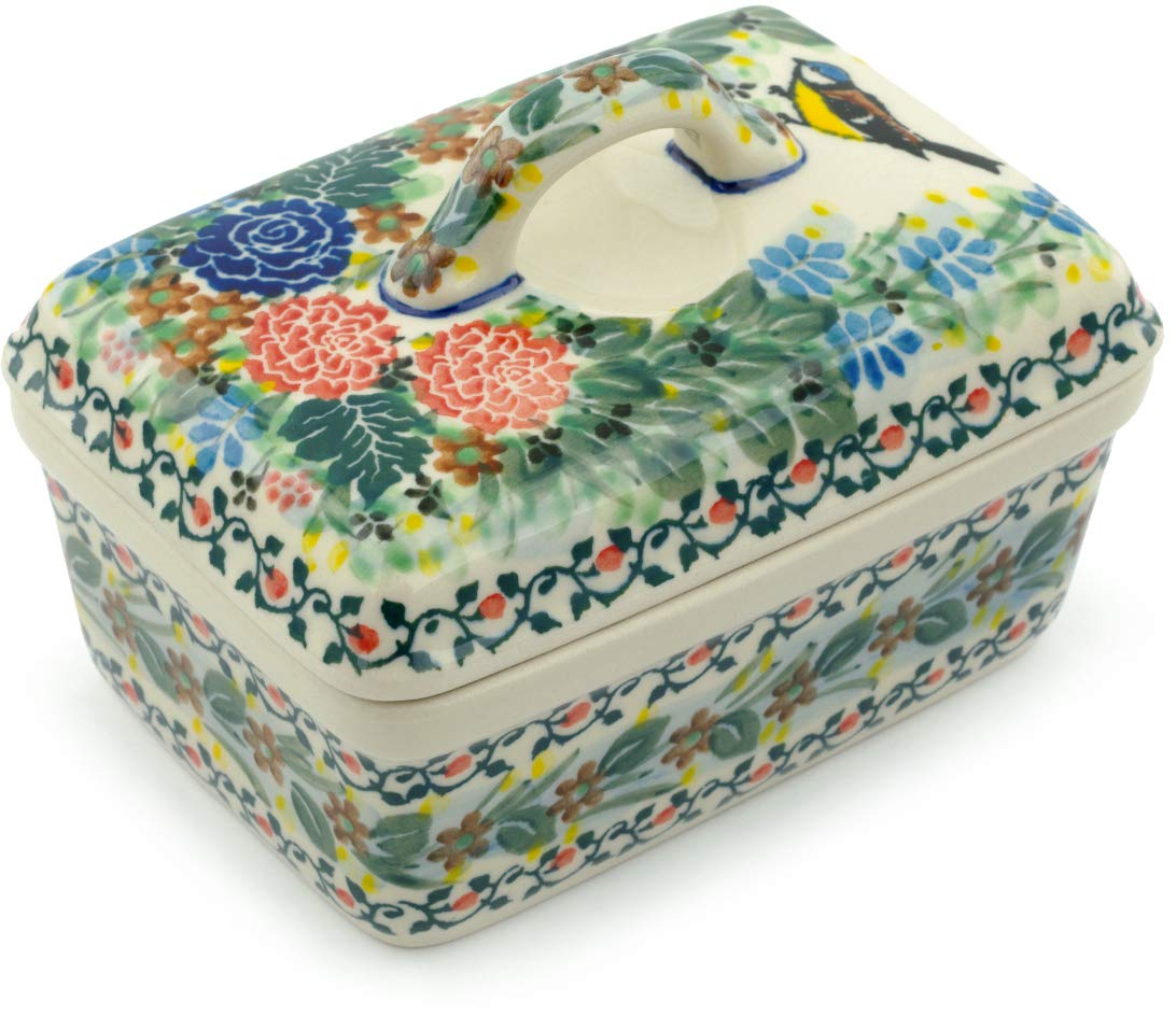 Polish Pottery 5½-inch Butter Dish made by Ceramika Artystyczna (Robbin's Meadow Theme) Signature UNIKAT + Certificate of Authenticity