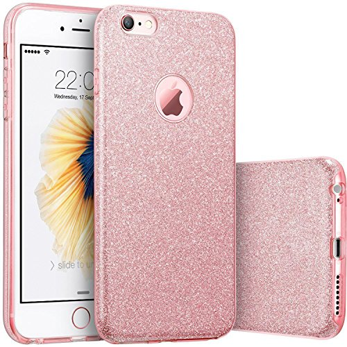 iPhone 6/6S Case, [Anti-Discoloration, Durable TPU Rubber] Twinkling Soft Stylish Design with Shiny Sparkling Glitter Stars