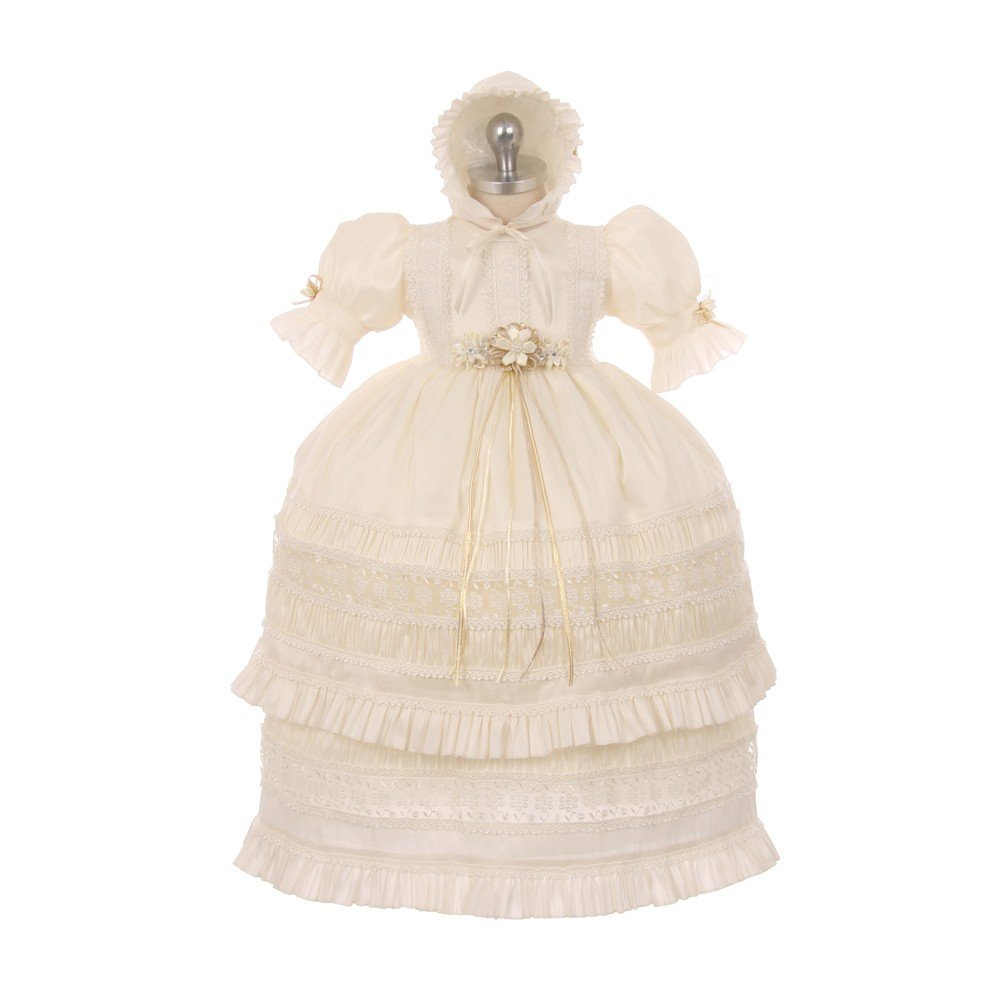 RainKids Baby Girls Ivory Shantung Trim Ruffle 3 Pc Bonnet Baptism Gown 12M