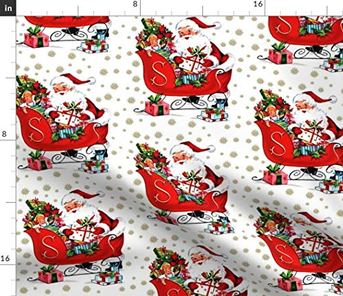 Christmas Fabric - Santa Claus Snowflakes Winter Sleigh Dolls Vintage Retro Kitsch Merry Toys Print on Fabric by The Yard - Chiffon for Sewing Fashion Apparel Dresses Home Decor