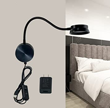 Amazon.com: LED Wall Lamp WAYCOM 6W Gooseneck Reading Light Black ...