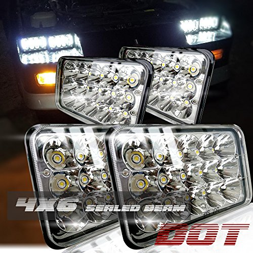 Dot Approved 4X6 Inch Sealed Beam Led Headlights Rectangular Replacement H4651 H4652 H4656 H4666 H6545 For Kenworth T600 T800 W900 Camero Motorhome Pererbilt Chevy Silverado K10 V10 S10 K20 Gmc Ford