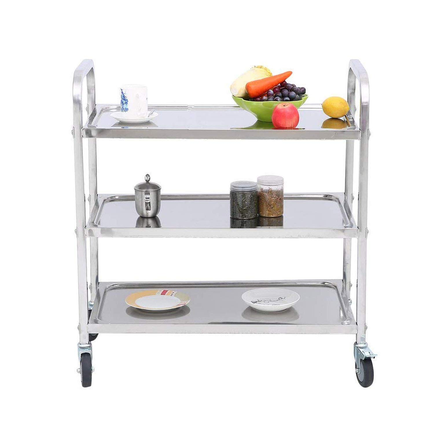 3-Shelf Stainless Steel Cart with Wheels for Restaurant Catering Kitchen Storage Serving Trolley Utility Cart 2 with Brake Lock,2 Without Brake Lock – 29.5×15.7×32.9 inch
