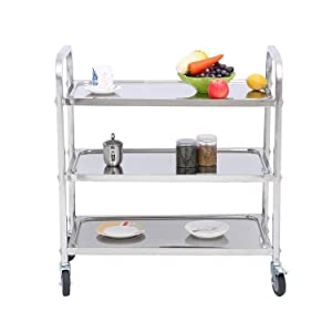 3-Shelf Stainless Steel Cart with Wheels for Restaurant Catering Kitchen Storage Serving Trolley Utility Cart (2 with Brake Lock,2 Without Brake Lock) - 29.5x15.7x32.9 inch