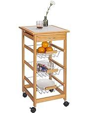eSituro Carrito de Cocina Móvil 3 cestas y 1 cajón Estantería de Cocina con Ruedas Mesa