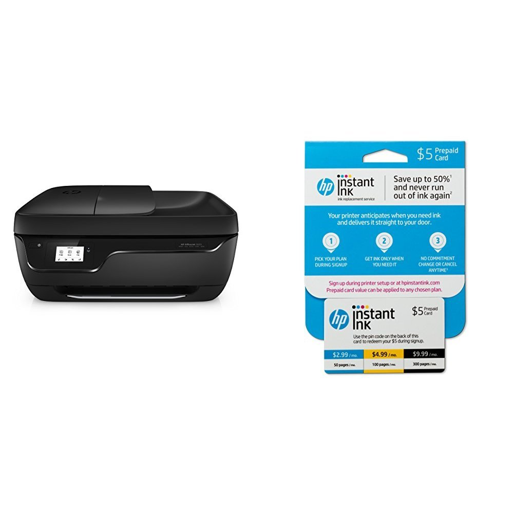 HP OfficeJet 3830 All-in-One Wireless Printer with Mobile Printing (K7V40A) and Instant Ink Prepaid Card for 50 100 300 Page per Month Plans (3HZ65AN) by HP