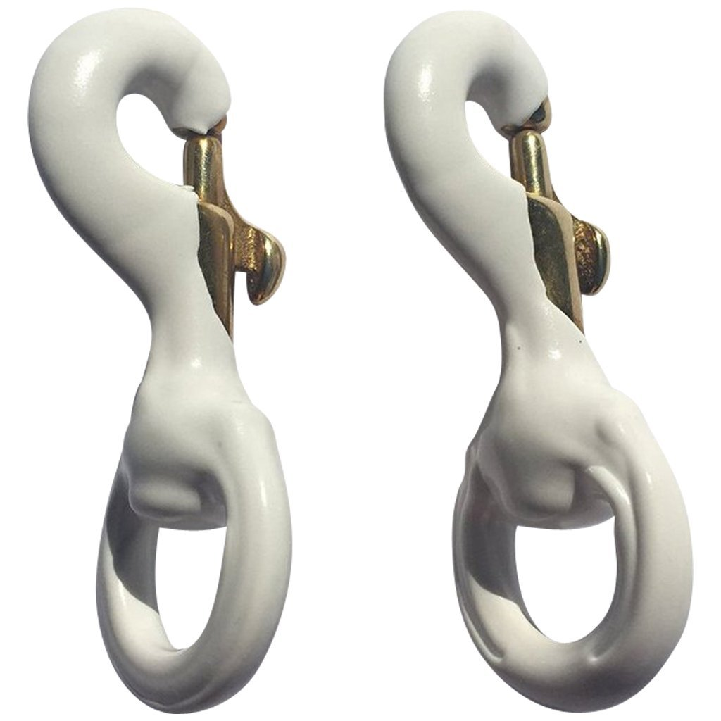 Flags Poles And More Pair of 3 Inch White Rubber Coated Brass Swivel Snap by (2, White)