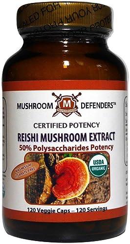 Reishi Mushroom Organic Extract 50 Polysaccharide Potency Mushroom Defenders 120 Cap