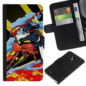 JackGot ( Motos Anime ) Samsung Galaxy S4 Mini i9190 (NOT S4) la tarjeta de Crédito Slots PU Funda de cuero Monedero caso cubierta de piel