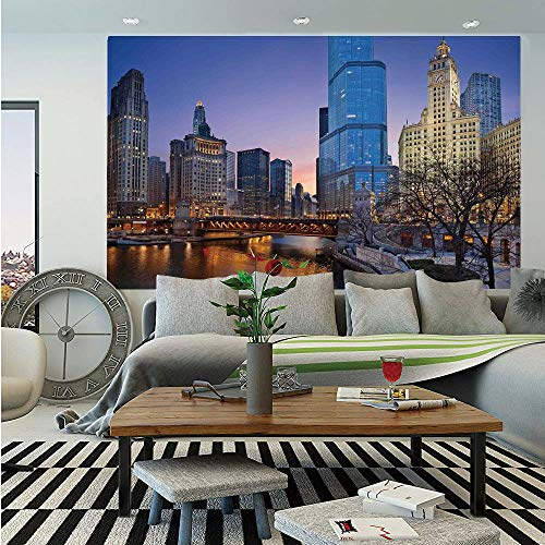 SoSung Landscape Removable Wall Mural,USA Chicago Cityscape with Rivers Bridge and Skyscrapers Cosmopolitan City Image,Self-Adhesive Large Wallpaper for Home Decor 66x96 inches,Multicolor