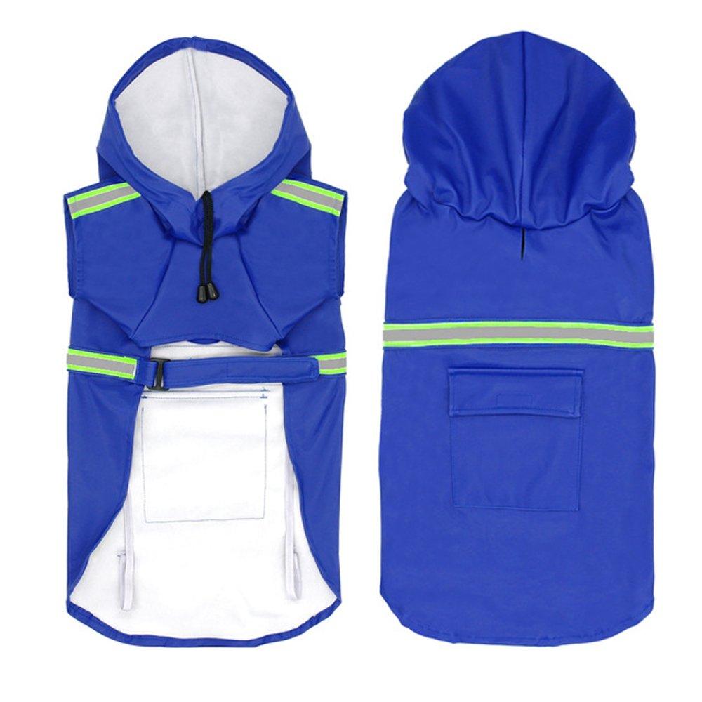 bluee XX-Large bluee XX-Large Dog Raincoat Leisure Waterproof Lightweight Dog Coat Jacket Reflective Rain Jacket with Hood for Small Medium Large Dogs(bluee,XXL)