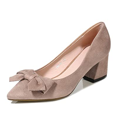 36b089ce63 visionreast Womens Closed-Toe Pumps Suede Court Shoes Pointed Toe 6cm Block  Heel with Bowknot Loafer Shoes for Wedding Party Work Black Brown Size 4-6:  ...