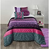3 Piece Girls Pink Purple Blue Black Cheetah Print Theme Comforter Full Queen Set, Chic Trendy All Over Safari Wild Animal Bedding, Fun Stylish Girly Multi Horizontal Stripe Leopard Themed Pattern
