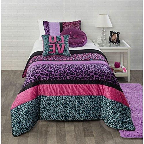3 Piece Girls Pink Purple Blue Black Cheetah Print Theme Comforter Full Queen Set, Chic Trendy All Over Safari Wild Animal Bedding, Fun Stylish Girly Multi Horizontal Stripe Leopard Themed Pattern by D&H