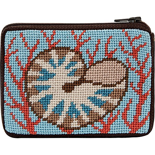 Coral Needlepoint - Shell and Coral Needlepoint Coin Purse Kit-- Stitch & Zip