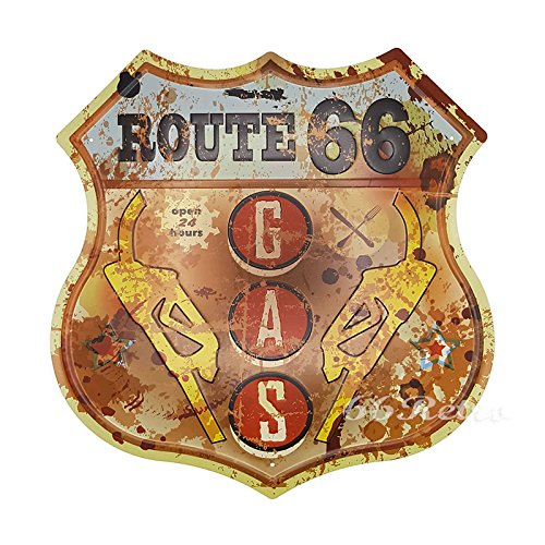 66Retro Route 66 Gas Open 24 hours, Embossed Metal Tin Sign, Vintage Wall Decorative Sign