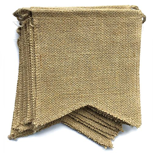 dealzEpic - Blank Rustic Burlap Banners with Stitched Edges for DIY Outdoor Garden Fall Decoration - 15pcs Jute Swallowtail Shaped Banners