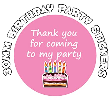 thank you for coming to my party birthday stickers birthday