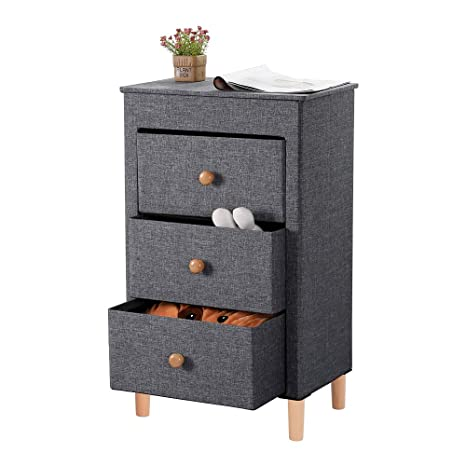 Kamiler 3-Drawer Dresser, Nightstand, Beside Table, End Table, Storage Organizer Tower Unit for Bedroom, Hallway, Entryway, Closets