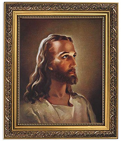 Sallman: Head of Christ Print in Ornate Gold Finish Frame. Boxed. ()
