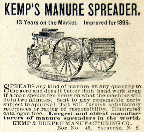 Farm Manure Spreader (1895 Ad Kemp Burpee Manure Spreader Wagon Fertilizer Distributor Farm Machinery - Original Print Ad)