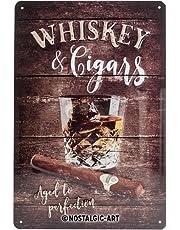 Nostalgic-Art 22257Plaque en tôle Open Bar Whiskey 20x 30cm