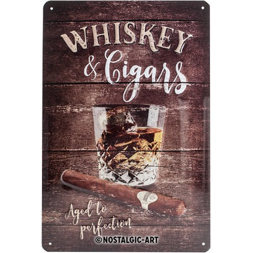 Nostalgic-Art 22257 Open Bar - Whiskey | Retro Blechschild | Vintage-Schild | Wand-Dekoration | Metall | 20x30 cm NOYP7