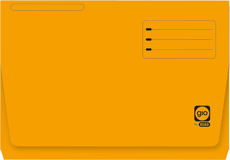 Elba Gio - Pack de 25 subcarpetas con bolsa y solapa, Fº, color amarillo: Amazon.es: Oficina y papelería