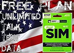 Simple Mobile SIM Card Including Preloaded Prefunded With $40, First Month Free