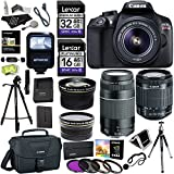 Canon EOS Rebel T6 DSLR Camera Kit (New Model for T5), EFS 18-55mm, EF 75-300mm Zoom Lenses, Polaroid .43x Super Wide Angle, 2.2X HD Telephoto Lens, Canon Bag, Tripods, Memory Cards & Accessory Bundle