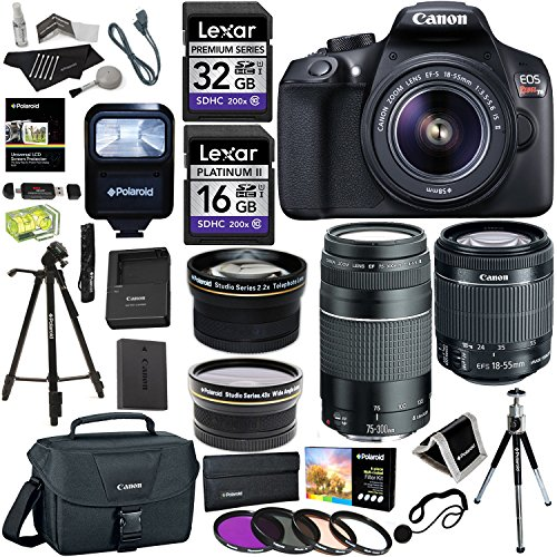 Zoom Canon Eos Digital Slr (Canon EOS Rebel T6 DSLR Camera Kit (New Model for T5), EFS 18-55mm, EF 75-300mm Zoom Lenses, Polaroid .43x Super Wide Angle, 2.2X HD Telephoto Lens, Canon Bag, Tripods, Memory)