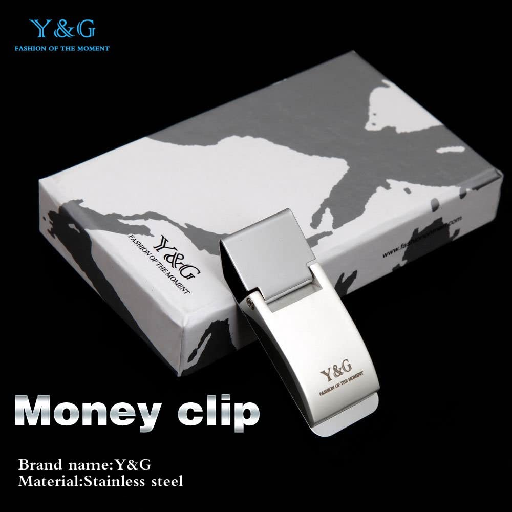 Y/&G Mens Fashion Slim Wallet Stainless Steel Money Clip Simple Style