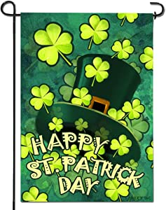 Anley |Double Sided| Premium Happy St. Patrick's Day Garden Flag, Green Hat with Clover Decorative Garden Flags - Weather Resistant & Double Stitched - 18 x 12.5 Inch