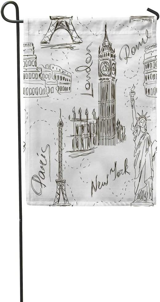 """Vooft Garden Flag Double Sided 12""""x18"""" Sketch Big Ben Eiffel Tower Colosseum and Statue of Liberty Annykos Soft Durable Outdoor Banner Courtyard Farm Home Yard Lucky Corridor Decoration"""