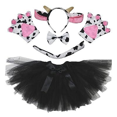 Petitebella Animal Headband Bowtie Tail Gloves Tutu 5pc Girl Costume (Cow): Clothing