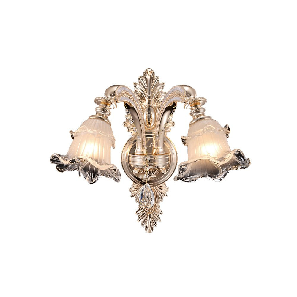 Chen Lampada da parete in lega di cristallo del canale della stanza da letto di lampada di cristallo di stile del retro stile europeo (dimensioni   45  41CM)