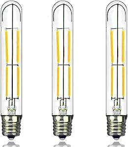 Doright T6 LED Bulb Dimmable LED Light Bulb 4W T6.5 E17 LED Tubular Bulb, Filament Intermediate Base LED Bulb Replace 40W E17 Halogen, Clear Glass LED T6 Tube Light for Lamp Lighting