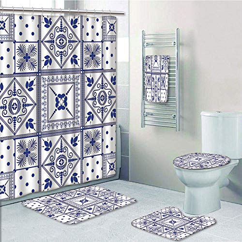 Bathroom 5 Piece Set shower curtain 3d print Multi Style,Navy Blue Decor,Ethnic Moroccan Oriental Style Ceramic Patterns with Dots and Flowers Artprint,Navy Blue White,Bath Mat,Bathroom Carpet Rug,Non