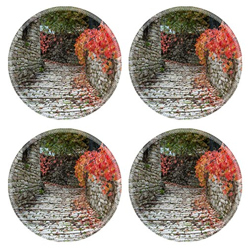 luxlady-natural-rubber-round-coasters-image-id-25994490-road-with-red-leaves-in-a-traditional-villag
