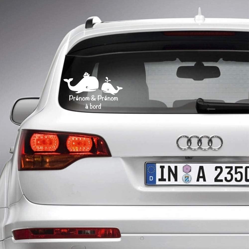 Sticker b/éb/é /à bord pour voiture PRENOM Personnalis/é Baleine 20 cm Blanc Anakiss