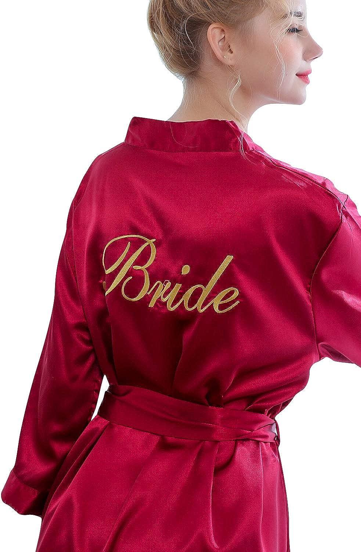 YAOMEI Embroidery Bride Bridesmaid Robes Dressing Gown Kimono ...