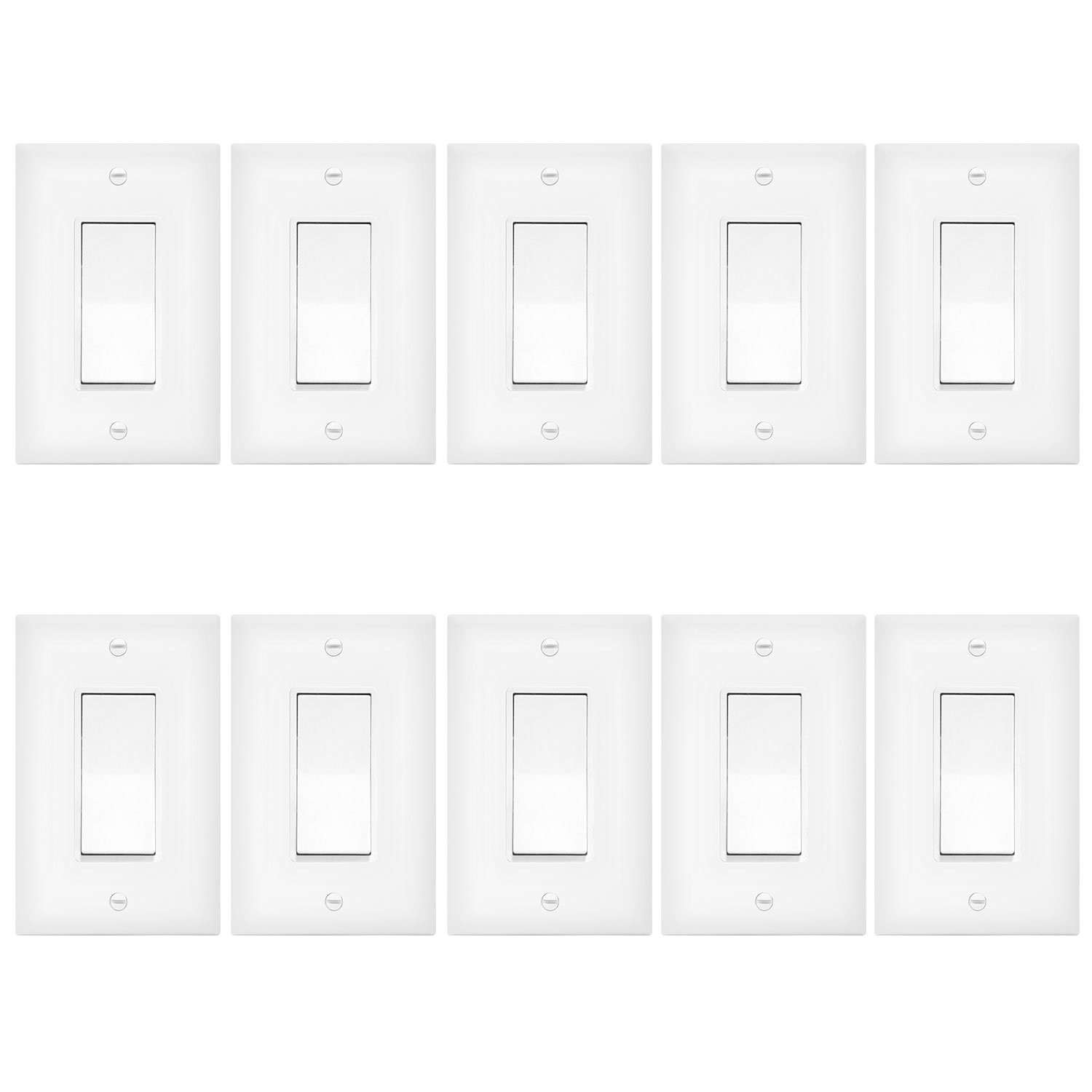 Enerlites 3-Way Light Switch with Covers (White)